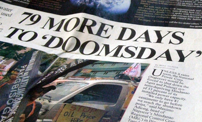 Newspaper headline in the Philippines about the power outages
