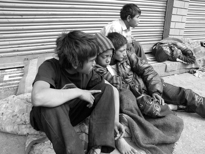 Street Children surviving in groups in Kathmandu